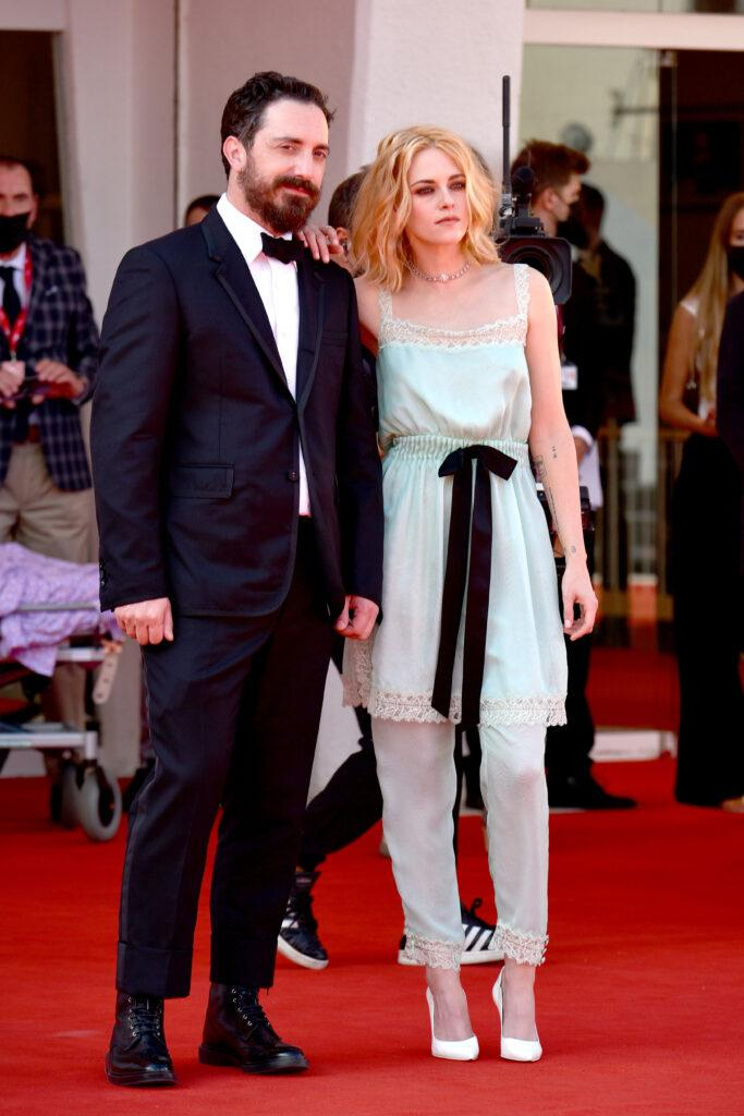 Kristen Stewart and Pablo Larra n attends the red carpet of the movie quot Spencer quot during the 78th Venice International Film Festival