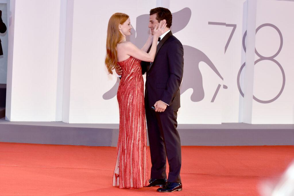 Jessica Chastain and Oscar Isaac attend the red carpet of the movie quot Competencia Oficial quot and quot Scenes from a Marriage quot during the 78th Venice International Film Festival