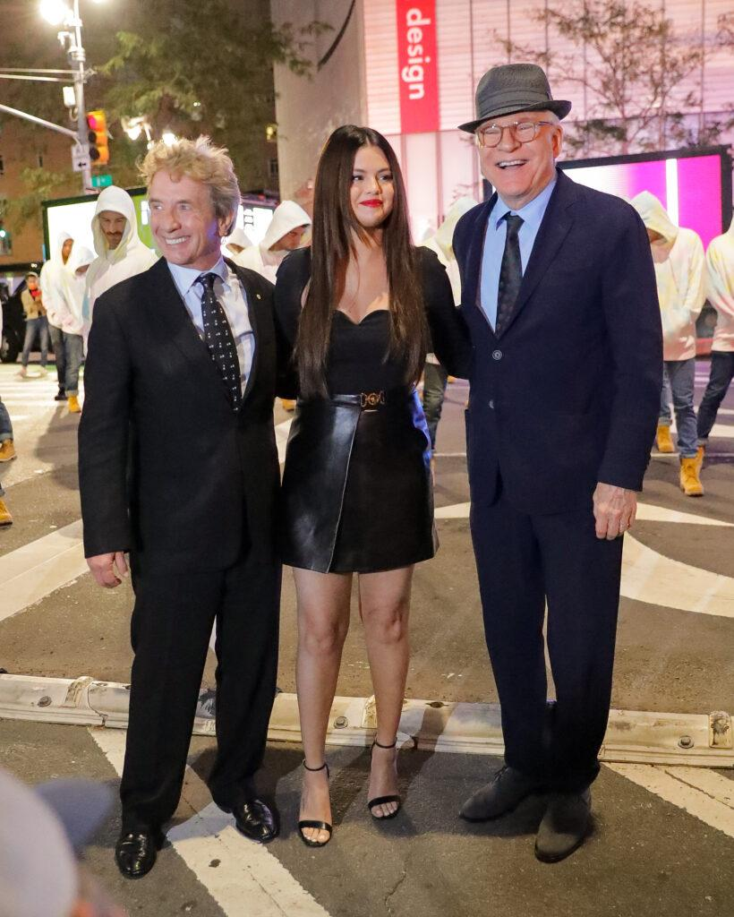Selena Gomez Steve Martin and Martin Short seen posing together while promoting Only Murders in the Building in NYC