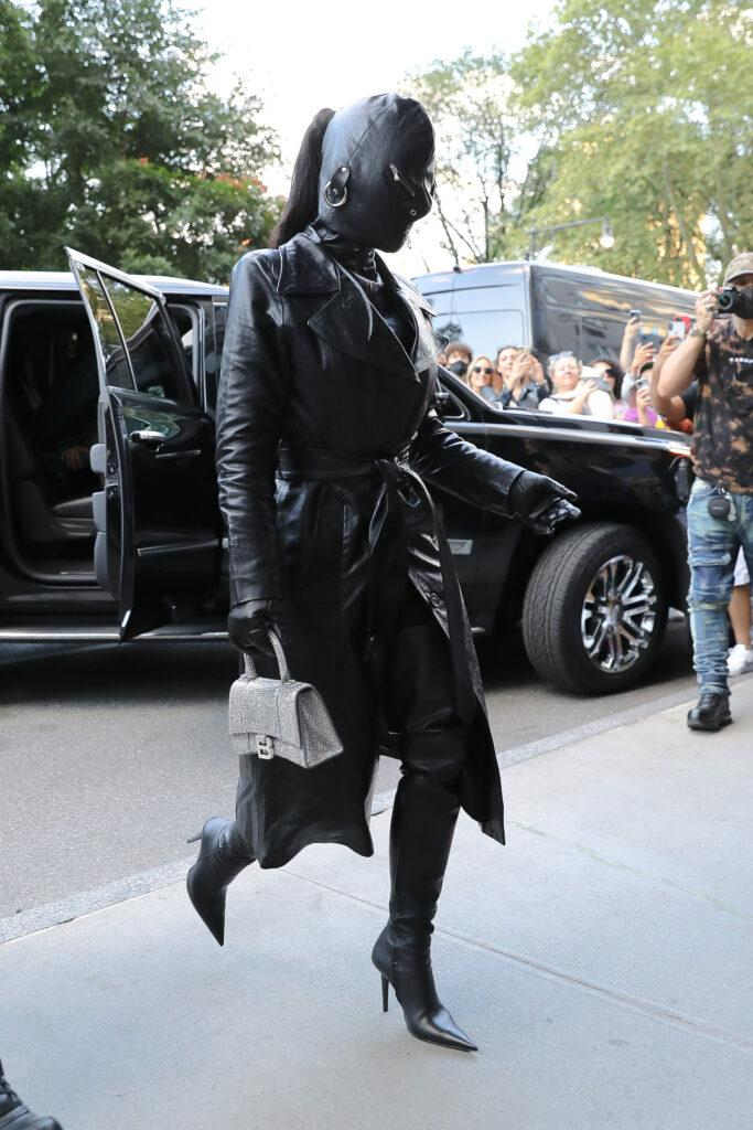 Kim Kardashian Covered head to toe with a leather suit while arrives at her hotel in NYC