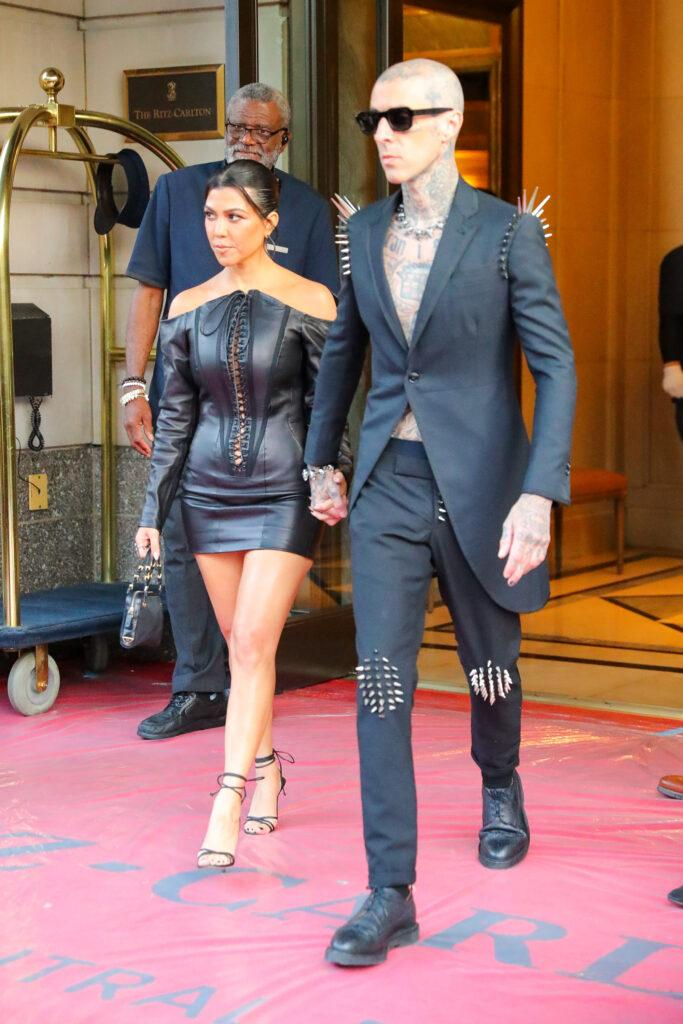 Kourtney Kardashian and Travis Barker seen holding hands while they were heading to the VMAs in NYC