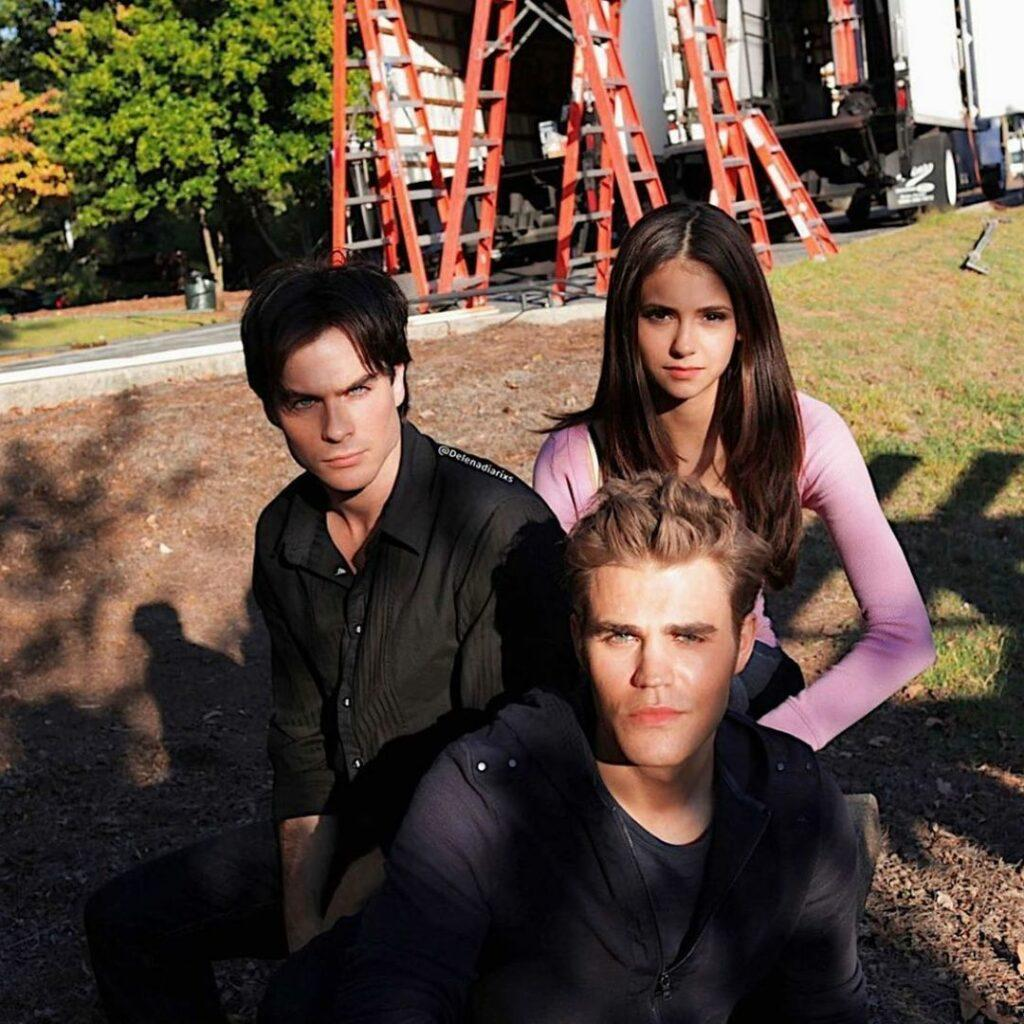 """A throwback photo to Nina Dobrev, Ian Somerhalder, and Paul Wesley on the set of """"The Vampire Diaries."""""""