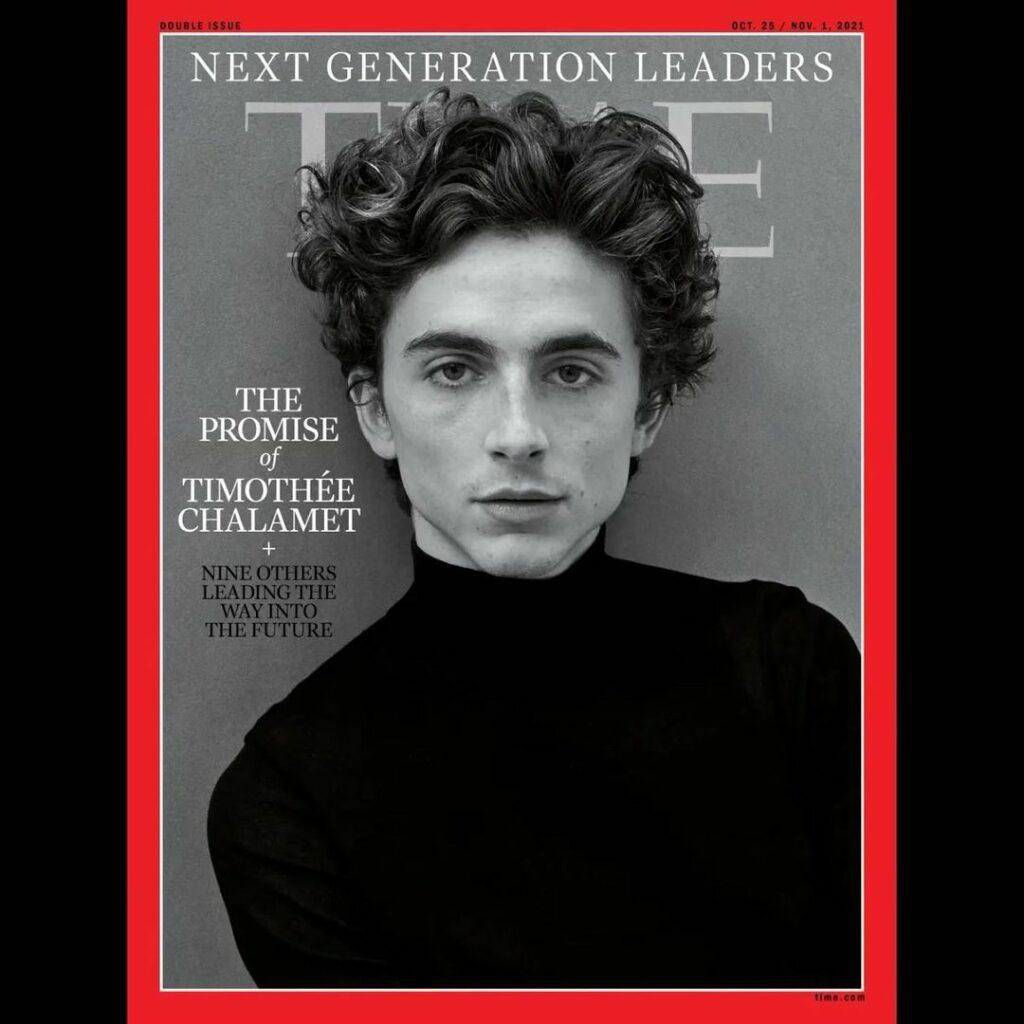 Timothée Chalamet on the cover of Time magazine