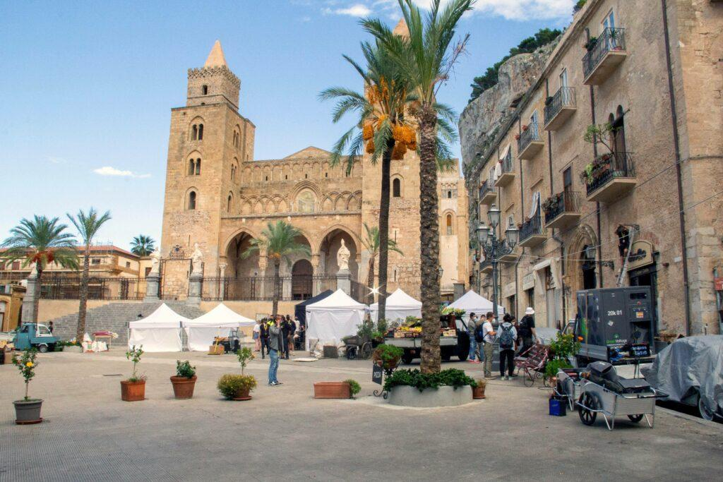 """The shot of the set in """"Indiana Jones 5"""" being filmed in Cefalù, Sicily"""
