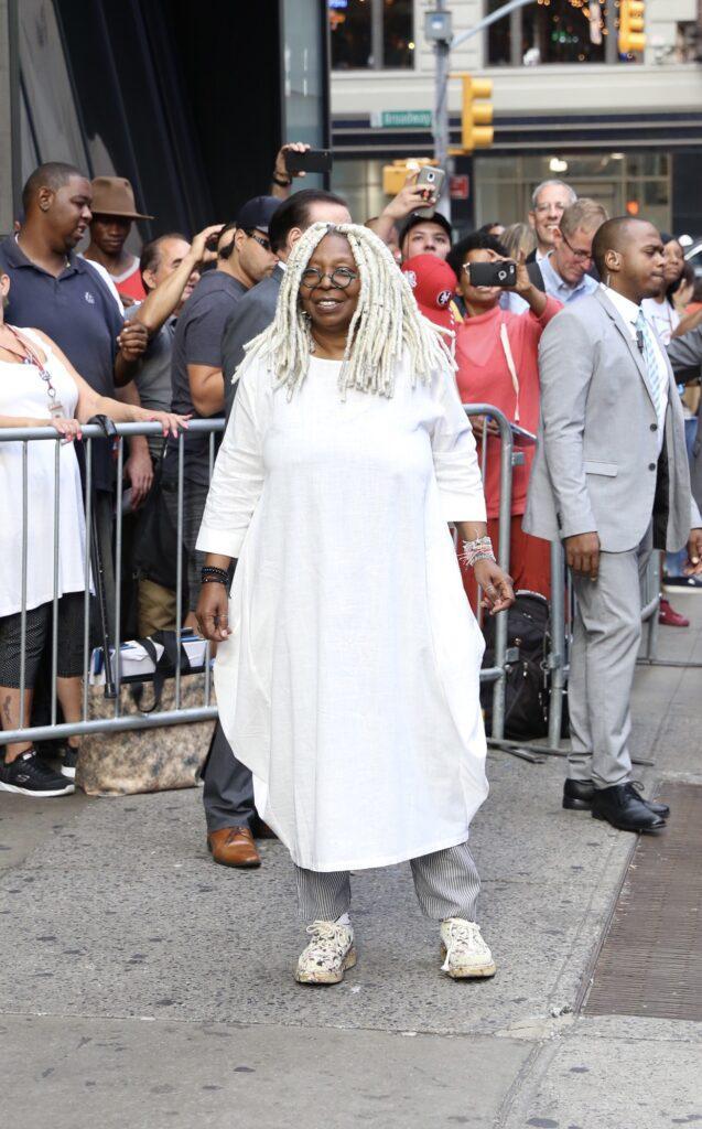 Whoopi Goldberg is seen leaving Good Morning America