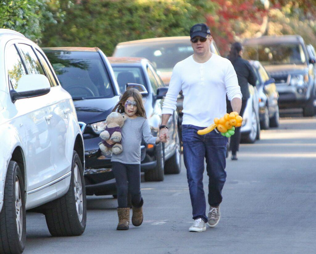 Matt Damon takes his daughter Stella to a birthday party in Los Angeles