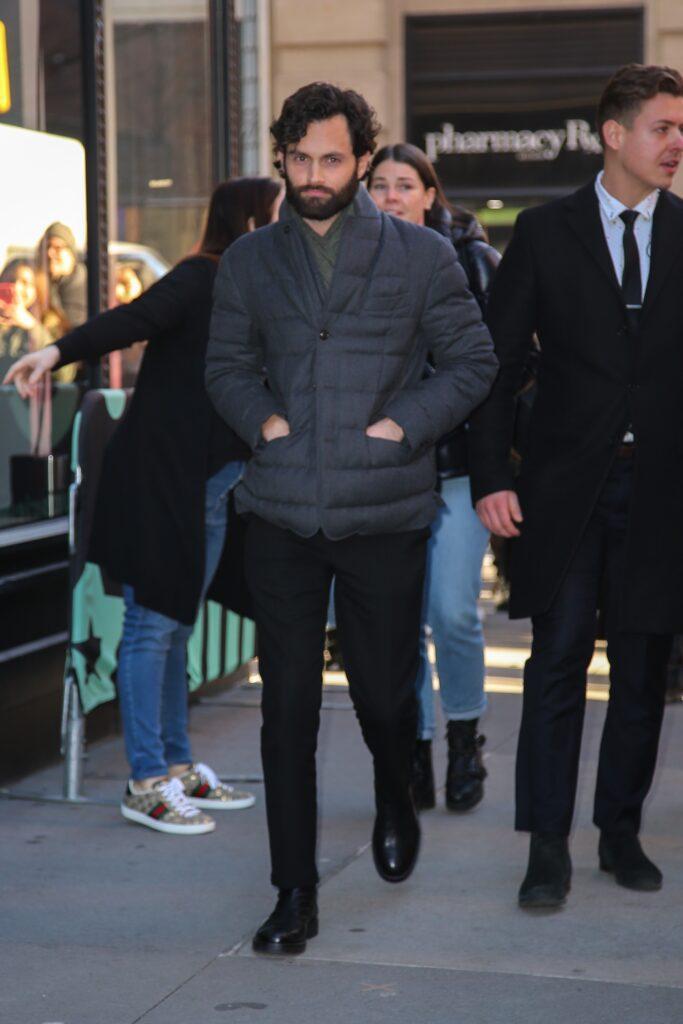 Actor Penn Badgley seen leaving the Build studios in NYC