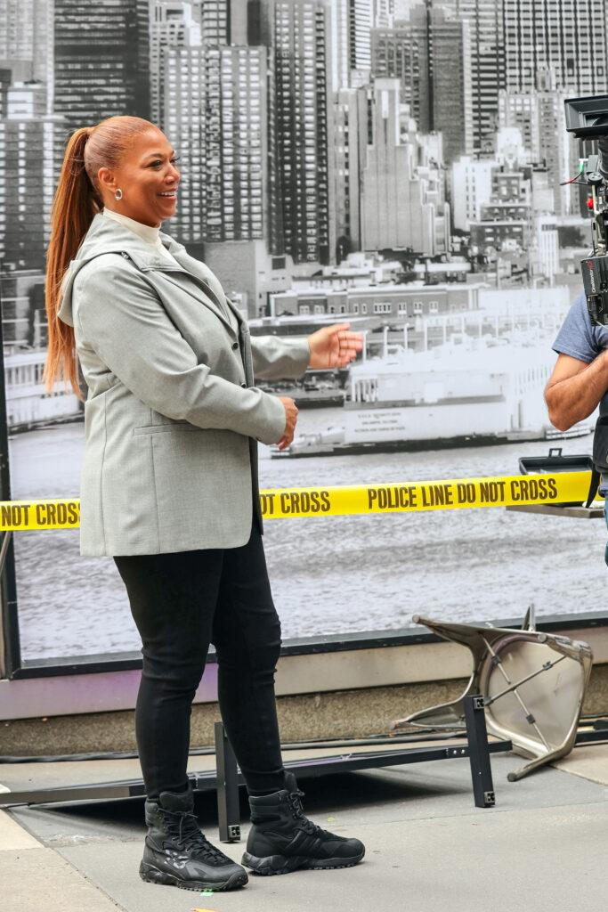 Queen Latifah on film set of the apos The Equalizer apos TV Series
