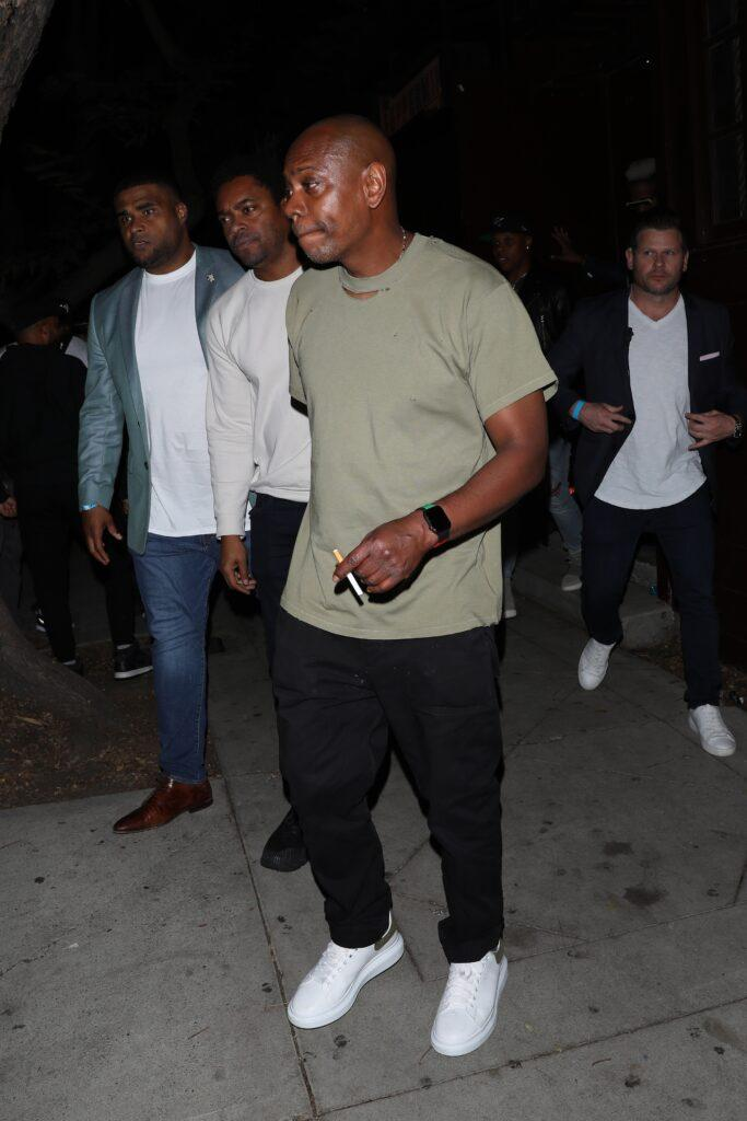 Comedian Dave Chappelle is seen exiting the Peppermint club after performing on stage